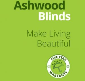 Ashwood Blinds logo, Slogan and 5 Year Warranty Symbol