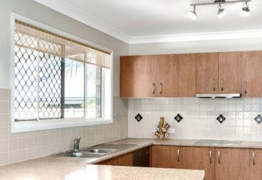 Kitchen with bamboo blinds fitted to the window