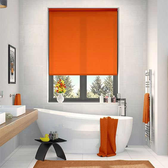 Orange Roller Blind in a Bathroom