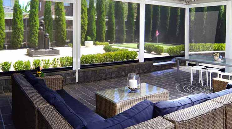 Photo of Side Channel Awnings providing shelter for an outdoor entertaining area