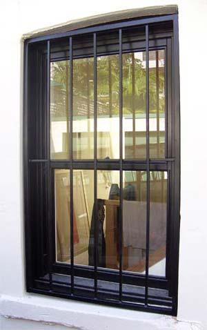Black solid steel vertical bar window grille