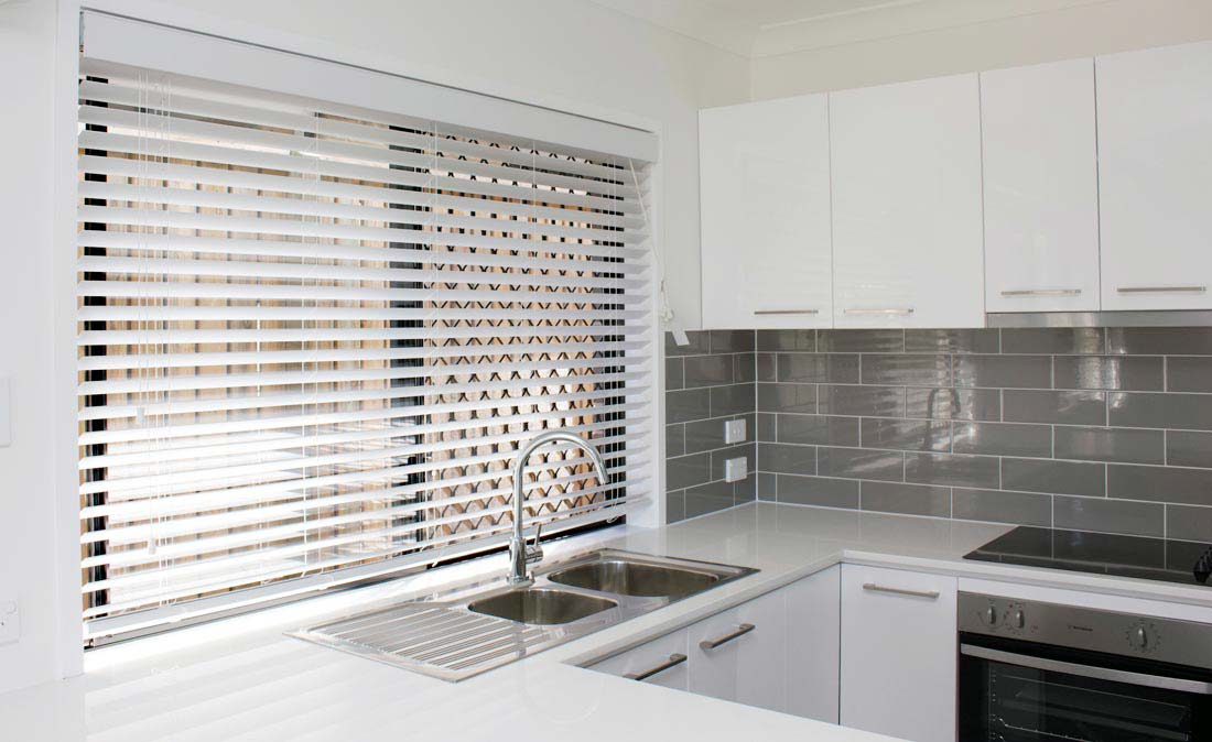 White Venetians in a Kitchen